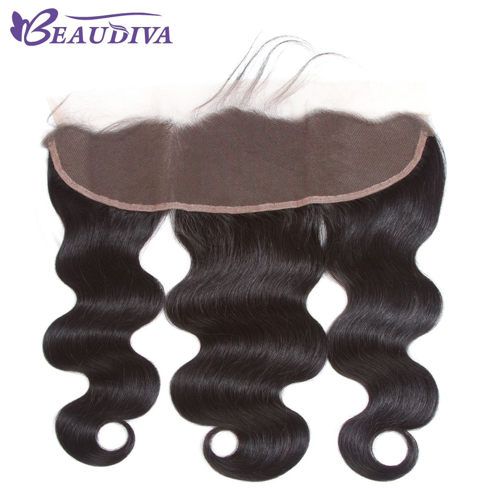 BEAUDIVA Pre-Colored Brazilian Body Wave Lace Frontal Free Part Ear to Ear Human Hair Lace Closure Size 13x4 Natural