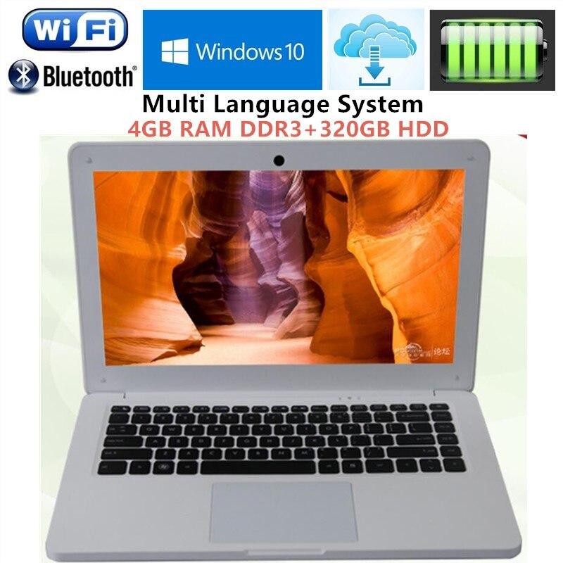 4GB RAM+HDD 320GB 13.3 Inch Intel i3 Dual Core 1.9Ghz Four thread Ultrabook Laptops WIFI HDMI WEBCAM USB3.0 notebook Free DHL
