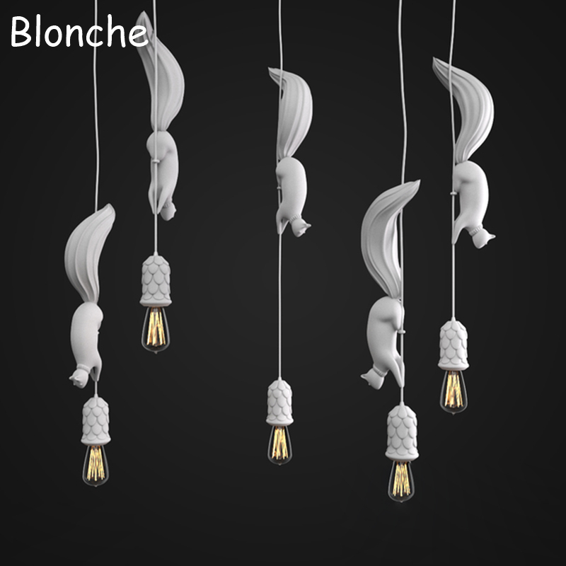 Nordic Squirrel Pendant Lights Lamp Led Hanglamp Modern Loft Industrial Hanging Fixtures for Children's Room Kitchen Home Decor loft nordic vintage industrial decor black hanglamp hanging design fixtures lamp pendant lights for dining room kitchen lighting