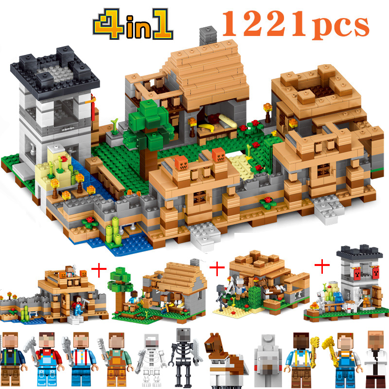 1221 pcs 4 In 1 Compatible Minecraft Building Block Dream village blocks My World Brick Educantion Toy Gift 1106 pcs building block my village my world brick figure toy gift model building christmas birthday gift hobbies for children