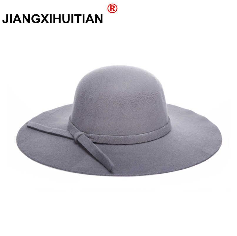 725e6fda5d083 2017 winter Hats For Women Soft Vintage Wide Brim Wool Felt Bowler Fedora  Hat Floppy Cloche