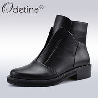 Odetina Antumn Winter High Quality Designer Women Boots Fashion Crystal Ankle Boots Side Zip Low Heels Casual Shoes Big Size 41