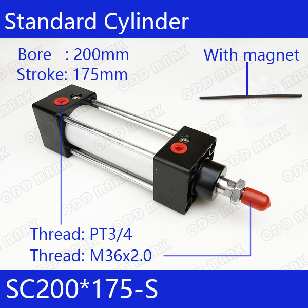 SC200*175-S 200mm Bore 175mm Stroke SC200X175-S SC Series Single Rod Standard Pneumatic Air Cylinder SC200-175-S sc200 300 200mm bore 300mm stroke sc200x300 sc series single rod standard pneumatic air cylinder sc200 300