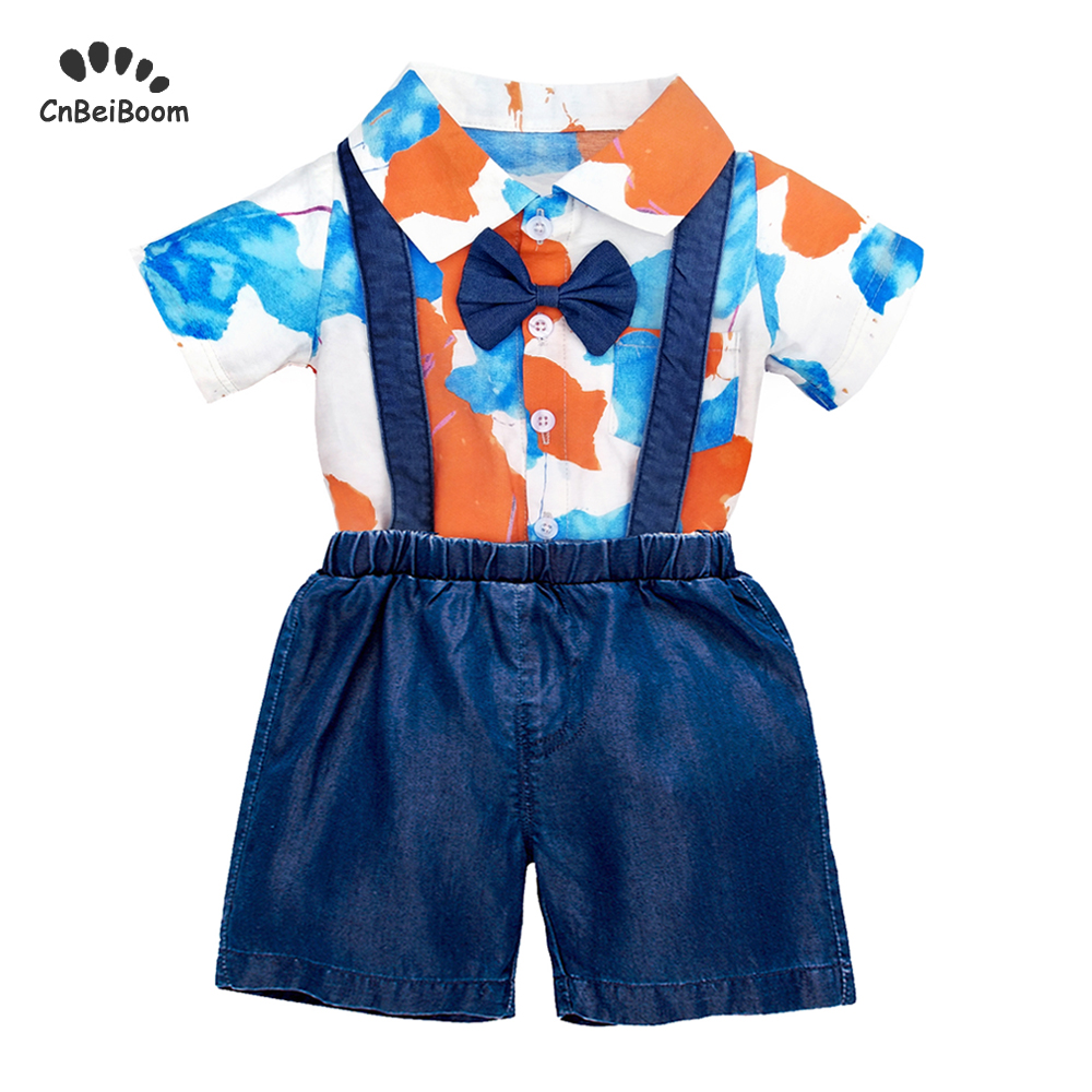 797ede223 2019 Summer Baby Boys Clothes Sets Newborn Infant Boy girl multicolour  rompers+soft Shorts Jeans Cowboy overalls 2Pcs Outfits ~ Super Sale June  2019