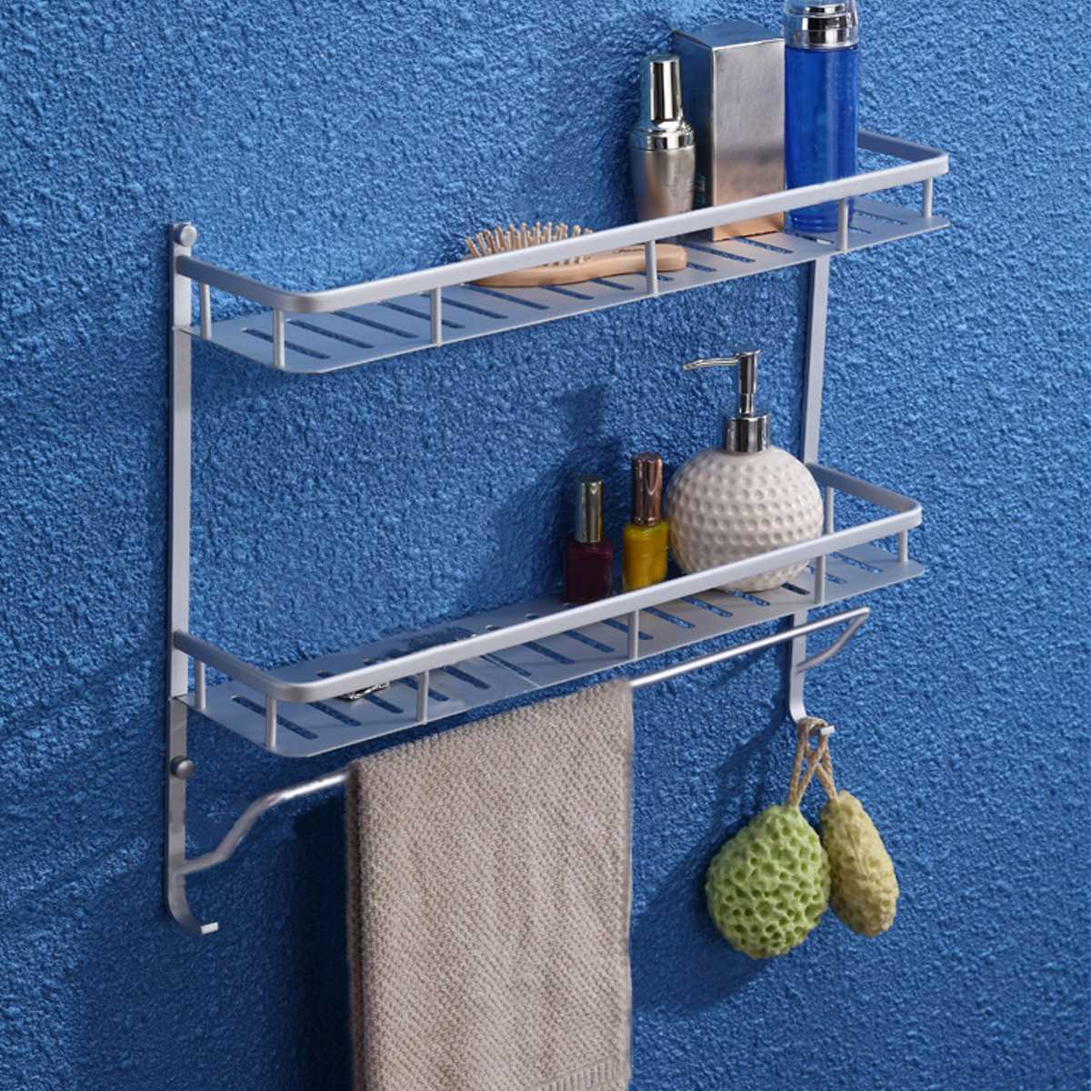 Kitchen Bathroom Storage Rack Shelf 1/2 Layer Space Saver Aluminium Hanger  Shower Sundries Shelves Organizer Holder In Storage Holders U0026 Racks From  Home ...