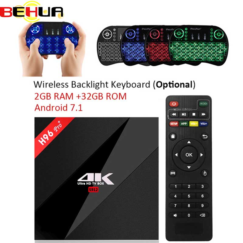H96 Pro + Plus 3 gb gb 2.4g 5 32 ghz Wi-fi 4 k box Amlogic S912 set Top box Smart tv box android 7.1 H96 plus Vs X96 Android tv box