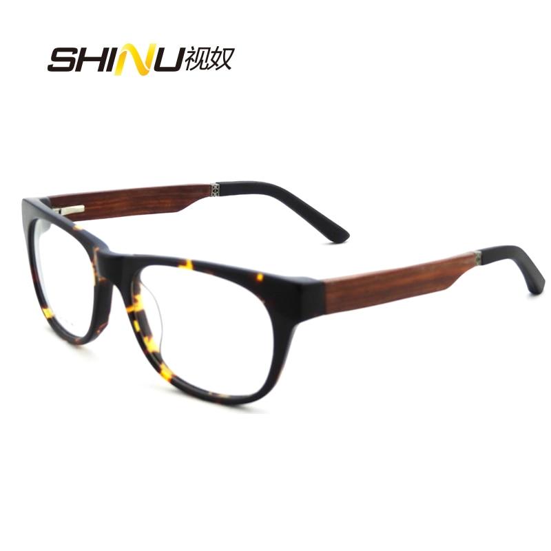03a117f666 High Quality Full Acetate Frame Wooden Legs Optical Eyeglasses Frame Myopia Prescription  Glasses Frames Spring Hinge