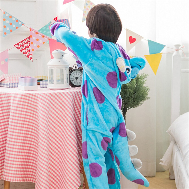 Kigurumi Sullivan Costume Kid Onesie Anime Cosplay Blue Monsters University Boys Girls Mascot Flannel Warm Party Wear Funny suit