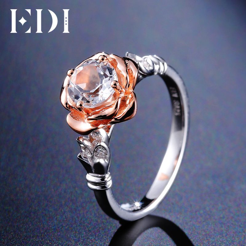 EDI Rose Natural White Topaz 100% 925 Sterling Silver Gemstone Ring Bands For Women Trendy Flower Fine Jewelry