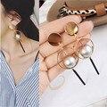 New accessories wholesale fashion sense solid geometry design Pearl earrings Pendant earrings female Ms stud earrings