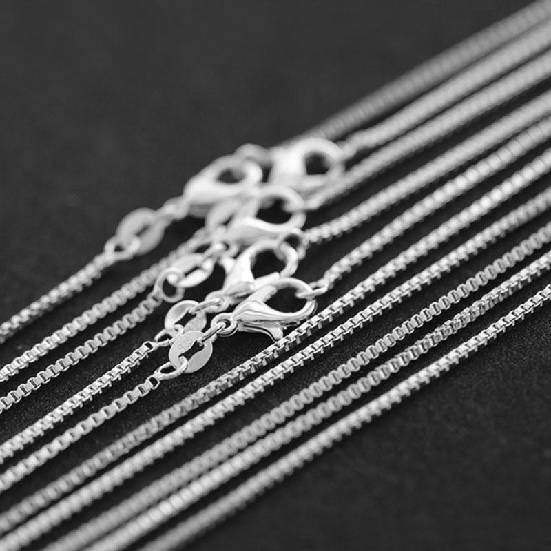 """10 pcs/lot vente en gros 1.4mm argent boîte chaîne collier pour les femmes, mode 925 bijoux argent plaqué collier chaînes 16 """"-30"""""""