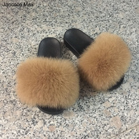 2017 Real Fox Fur Slippers Women Fashion Sliders Indoor Outdoor Flat Top Quality S6018