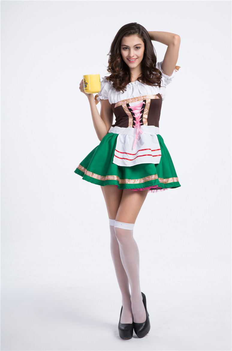 Adult Sexy German Beer Girl Maid Costume Green Bavarian Oktoberfest Beer Festival Cosplay Cosutme Halloween Costume Dress