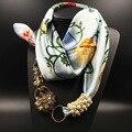 Женщины Винтаж Crystal Jewelry Подвески Цветок Печатных Шелковый Шарф Жемчужные Brads Зима Теплая Шарф Больше Конструкции Шарф Платок Пончо