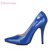 Brand New Glamour Blue Beige Women Formal Pumps Classic Stiletto Heels Lady Nude Shoes HG5A Plus Big Small Size 10 12 30 43 48