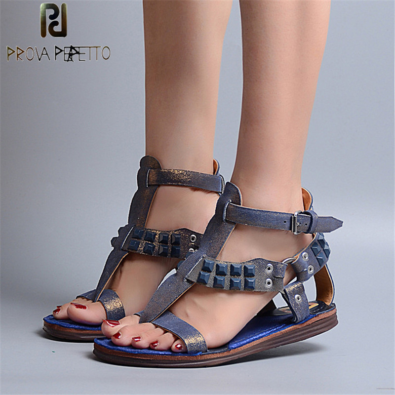 Prova Perfetto Summer Mixed Color Women Shoe Herringbone Toe Sandals Woman Real Leather T-Strap Rivets Studded Women Sandal Flat women flat pom pom decor flat sandal crystal butterfly knot summer shoe cutouts sandal mixed color fur gladiator sandal