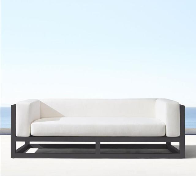 Nueva llegada patio exterior asientos jardín aluminio amor asiento sofá
