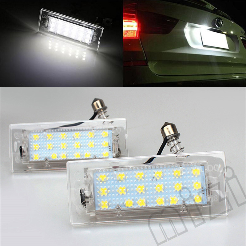 2Pcs/Lot 12V 18 LED Car License Number Plate Lights Ultra-White Error Free OBD LED License Plate Lamp for BMW X5 E53 2pcs set sunkia led number license plate lights pure white color for ford focus c max mk2 03 08 free shipping