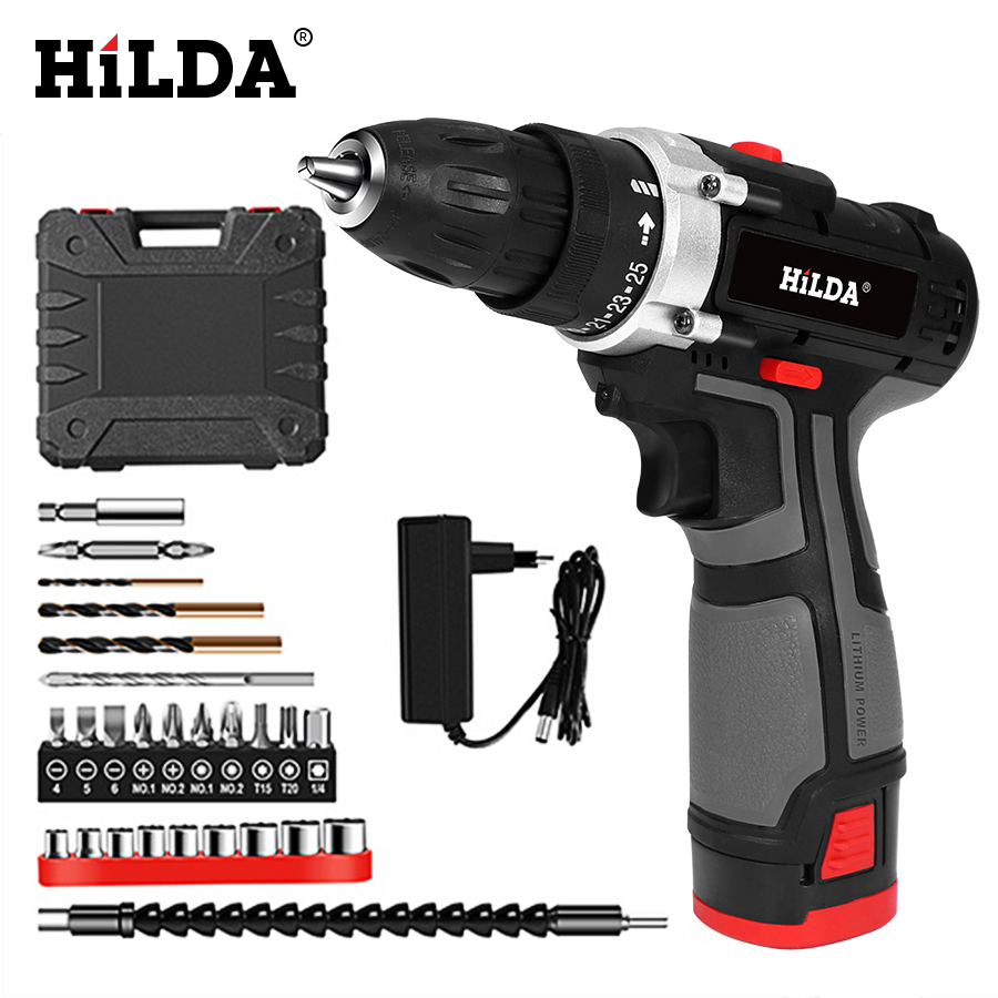 HILDA Electric Drill With Rechargeable Lithium Battery Electric Screwdriver Cordless Screwdriver Two speed Power Tools 16.8V