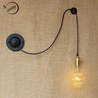 new design DIY antique retro black metal ball wall lamps E27/E26 AC 110V 220V for workroom bedside bedroom wall Lights