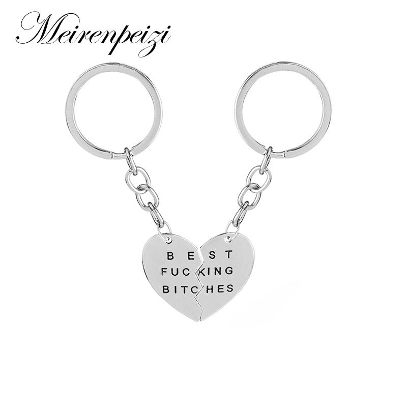 Best Bitches Key Chains Best Friends <font><b>BFF</b></font> Lovers Engraved Slipt Heart Key Ring Love Jewelry Christams Gift image