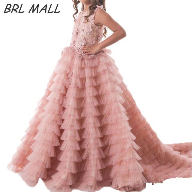 f31b7332d65d Lovely Pink flower girl dresses Layered tulle Lace appliques girls dresses  for party and wedding girls pageant dresses