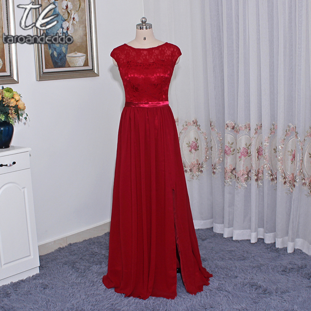 Long Bridesmaid Dress with Lace Bodice F19328 Front Slit Sleeveless  Burgunday Wedding Party Dress Formal Dresses a2cf10293e67
