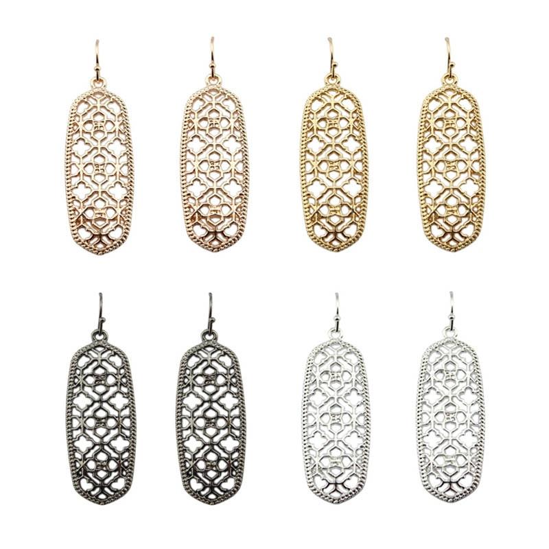 2017 New Famous Designer Rose Gold Filigree Earrings for Women Brand KS Geometrically Jewelry Cutout Clover Statement Earrings
