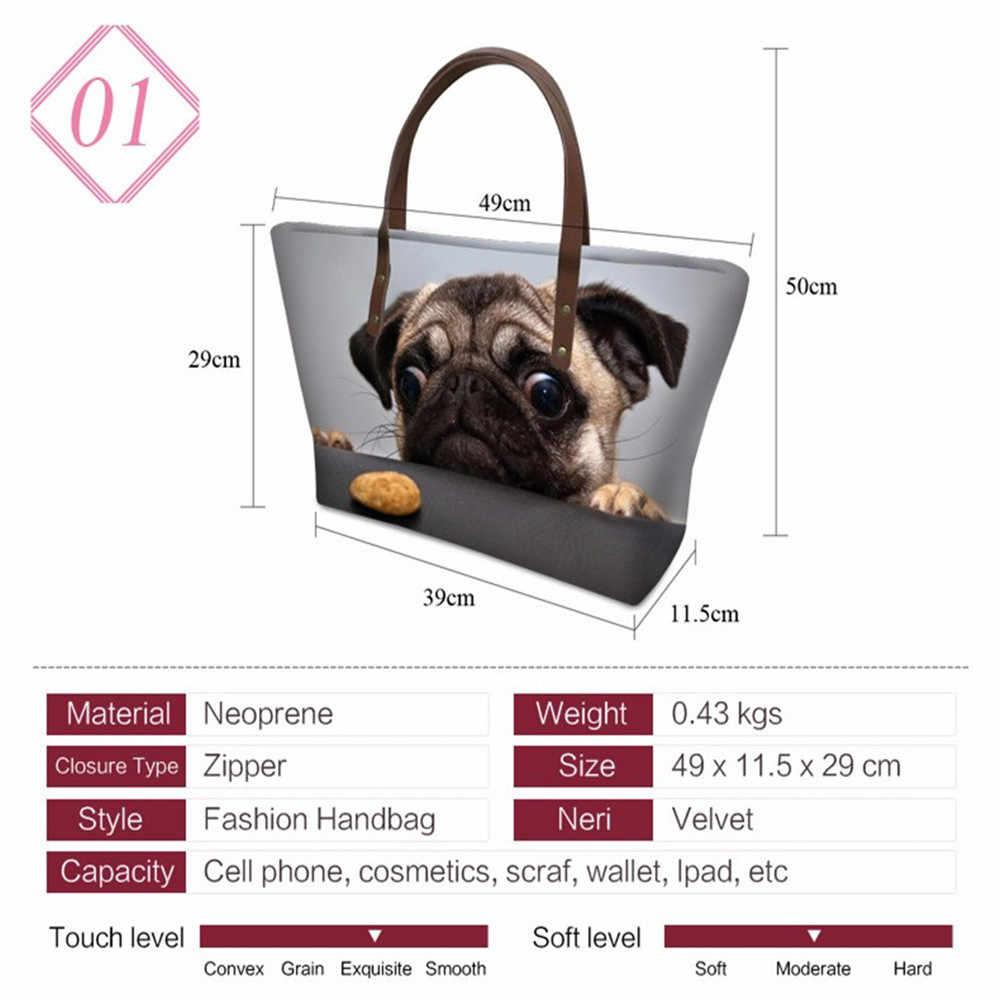 Atacado 3d animal zoo impressão senhoras bolsas uk bull terrier padrão vintage boston sacos de grande capacidade das mulheres totes forudesigns