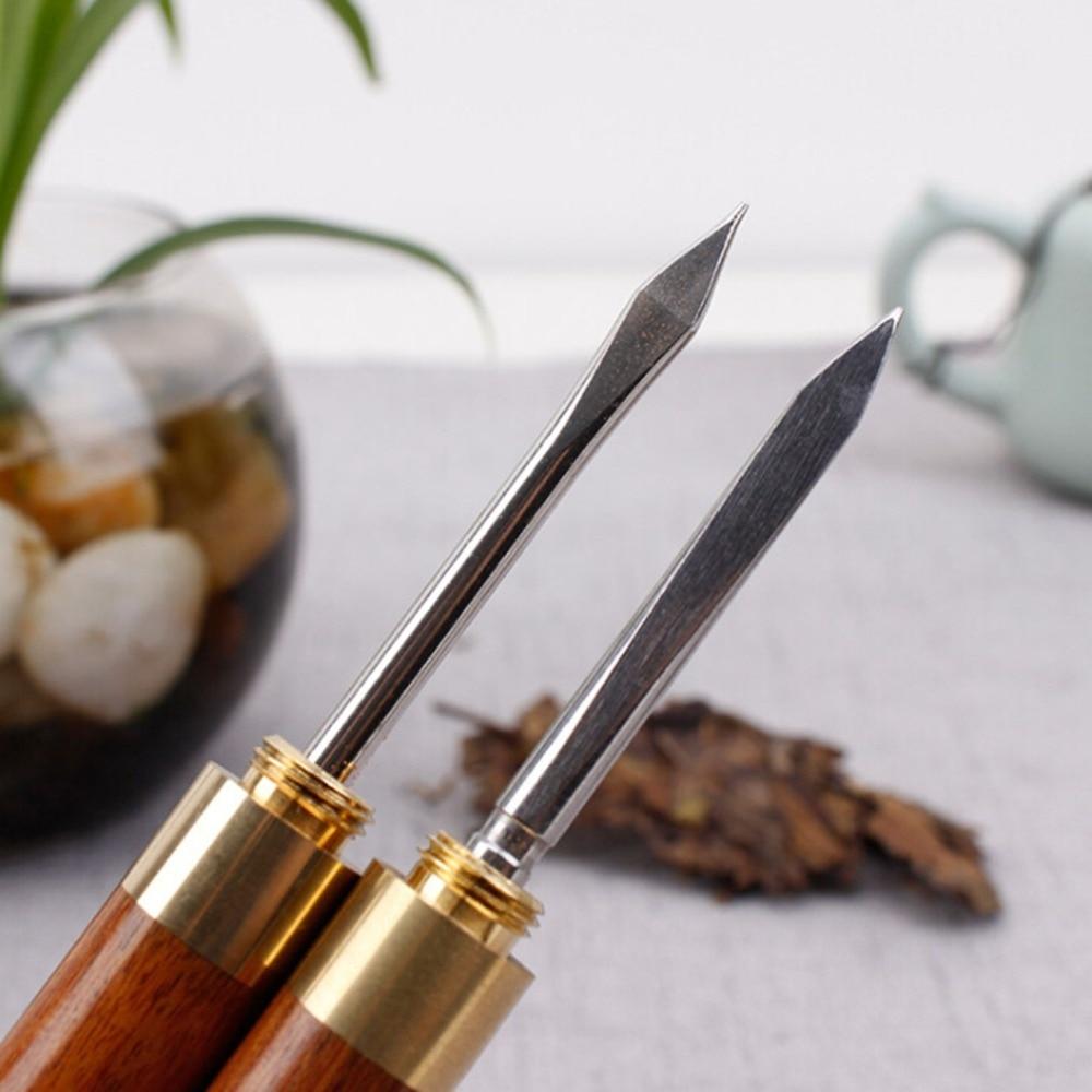 Chinese Pu-Erh Sandalwood Stainless Steel Tea Knife 3