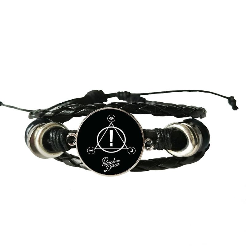 Meu steries de música banda pânico na série disco arte imagem de vidro cabochão moda charme pulseira de couro artesanal