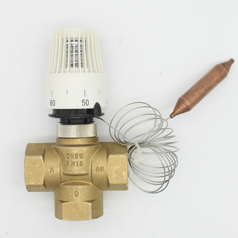 Energy Saving 30-70 Degree Control Floor Heating System Thermostatic Radiator Valve M30*1.5 Remote Controller 3 Way Brass Valve