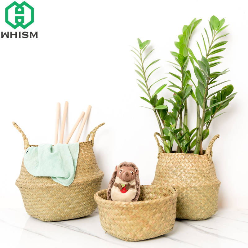 WHISM 2Pcs Foldable Rattan Belly Storage Basket Toy Laundry Basket Dirty Clothes Storage Container Home Plants Flower Decor