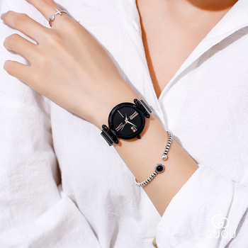 New Modern Fashion Black Ladies Quartz Watches Women Mesh Stainless Steel Watchband High Quality Casual Wristwatch Gift Clocks