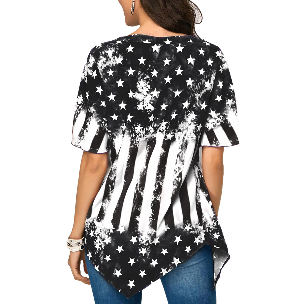 Independence Day Printed Women Blouse Plus size V Neck Asymmetrical hem Tops Loose Tunic summer Blouses Femme Shirt blusas 2