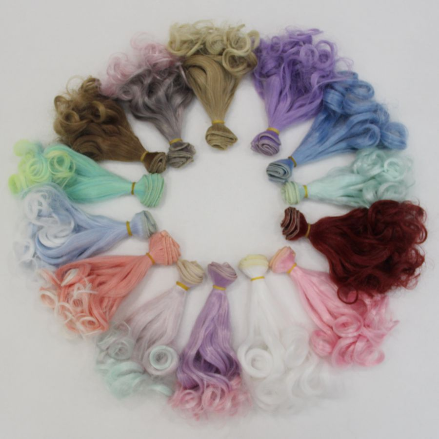 Cute DIY <font><b>Wig</b></font> Curls Hair Weaving 1/3 1/4 1/6 <font><b>1/8</b></font> <font><b>bjd</b></font> <font><b>Doll</b></font> <font><b>Wig</b></font> 15 * 100cm Hair In a Variety Of Colors High-temperature Wire image