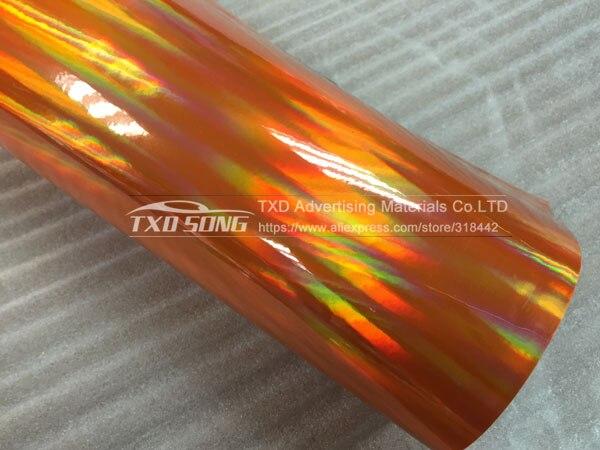 30 см X 152 см/лот голографическая Автомобильная виниловая пленка для украшения кузова автомобиля с воздушными пузырьками, автомобильная наклейка - Название цвета: ORANGE