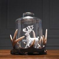 Model House Soft Decoration Glass Cover Decoration Living Room Shop Showcase Home Decor Friend Gift Deer Figurine Elk Present