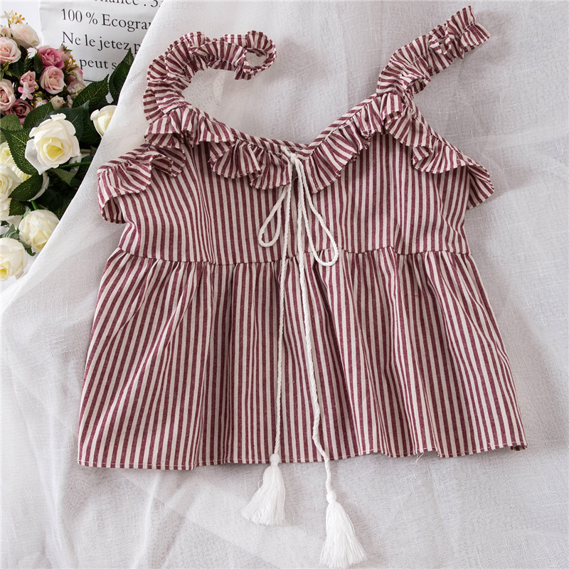 2018 Wome vest Fashion Sweet Womens New Tassels Stripe Top female camis