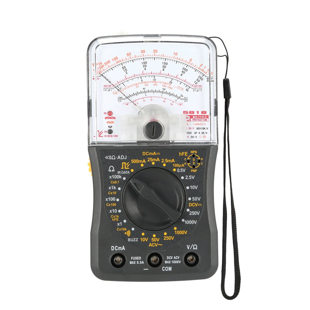 Mini Handheld Analog Multimeter AC/DC Voltmeter Ammeter Resistance Continuity Capacitance Fuse & Diodes Tester