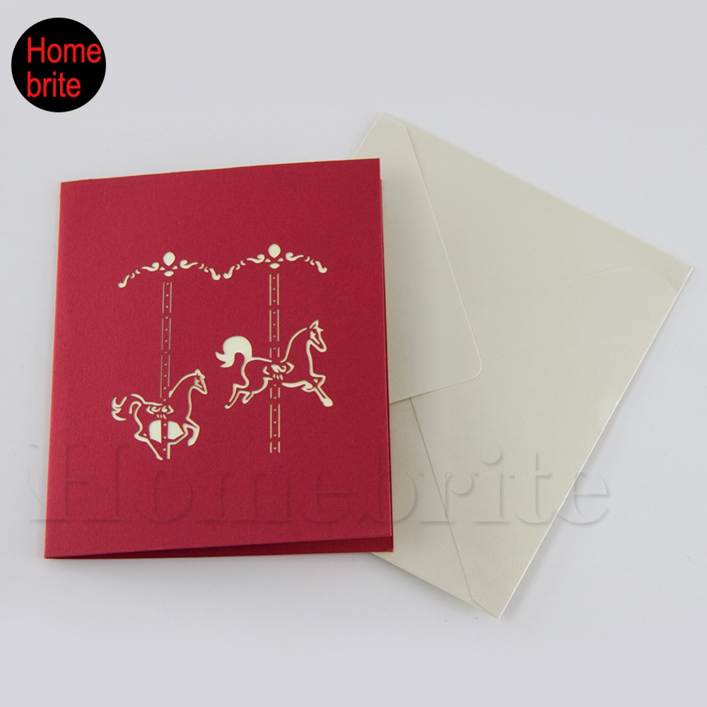 3D Pop Up Castle Paper Cards Laser Cut Wedding Invitation With ...