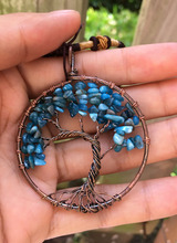 Blue crystal Copper spirituality girl child Women men Pendant lovers birthday Gift Natural Necklace  Tree Of Life