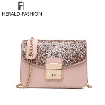 Herald Fashion Women Sequined Messenger Bag Quality Leather Women's Flap Bag Chain Strap Female Shoulder Bag Lay Crossbody Bags