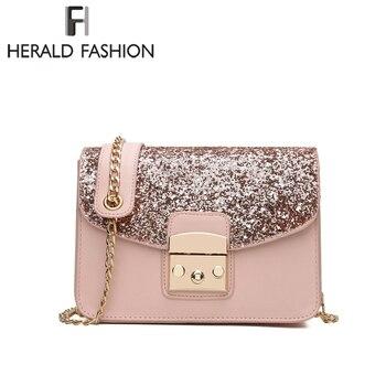 Herald Fashion Women Sequined Messenger Bag Quality Leather Women s Flap Bag  Chain Strap Female Shoulder Bag Lay Crossbody Bags 3a33d1bdf847e