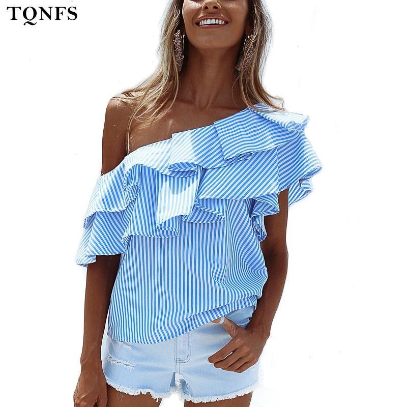 TQNFS Un Hombro Volantes Camisa de La Blusa de Las Mujeres Tops Casuales 2017 de