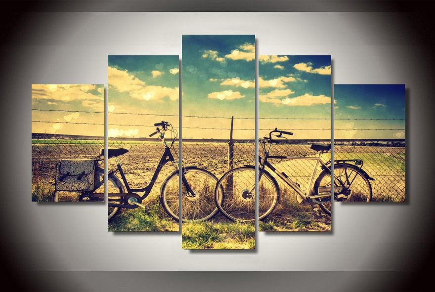 HD Printed Field retro bike Painting Canvas Print room decor print poster picture canvas Free shipping