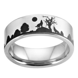 Image 5 - Wolf Design Ringe Für Frauen Männer Wedding Band Ring 8mm Wolfram Ring Partei Schmuck Engagement Ring Mit Ring box Drop Schiff