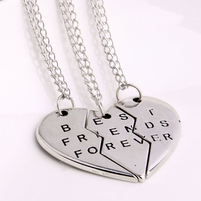 2/3 BFF Broken Heart Necklace Gold Silver Plated Best silver