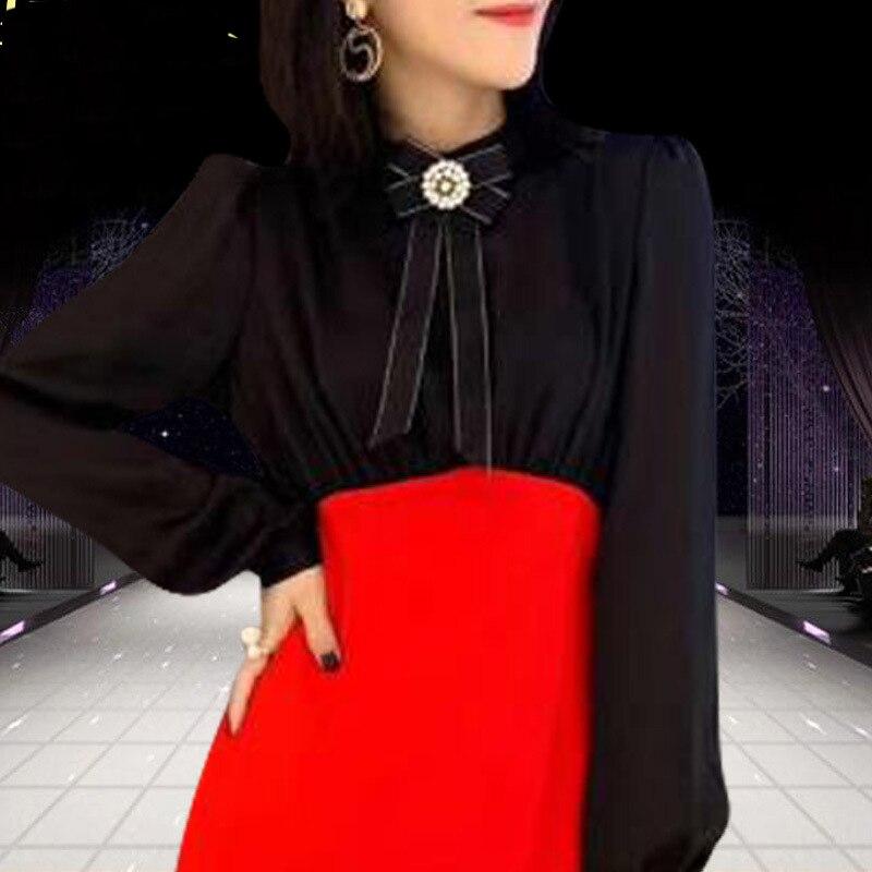 Tenue Sexy K554 Féminine À longueur Européenne Femme Manches Solide Longues Pour Genou Fête Taille Élégante Femmes Rouge Haute Robe A ligne De qSn1F5U