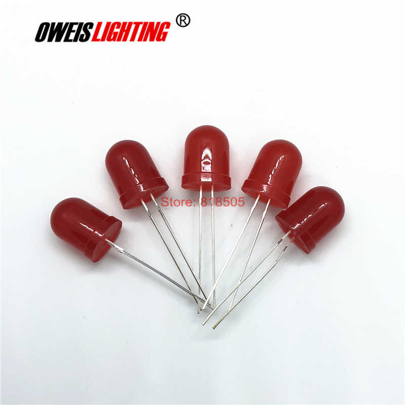 10 PCS 10 MM F10 ROTE LED DIP-2 Runde (ROT OBJEKTIV) lange beine 620-625nm 1,8-2,2 v 20mA 2000-3000mcd ULTRA HELLE